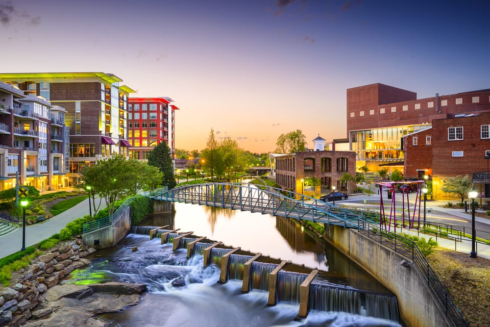Downtown Greenville, South Carolina, at Sunset